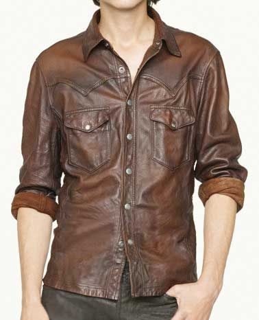 v tab leather shirt jacket - 50 colors [v tab leather shirt jacket] qldthpl